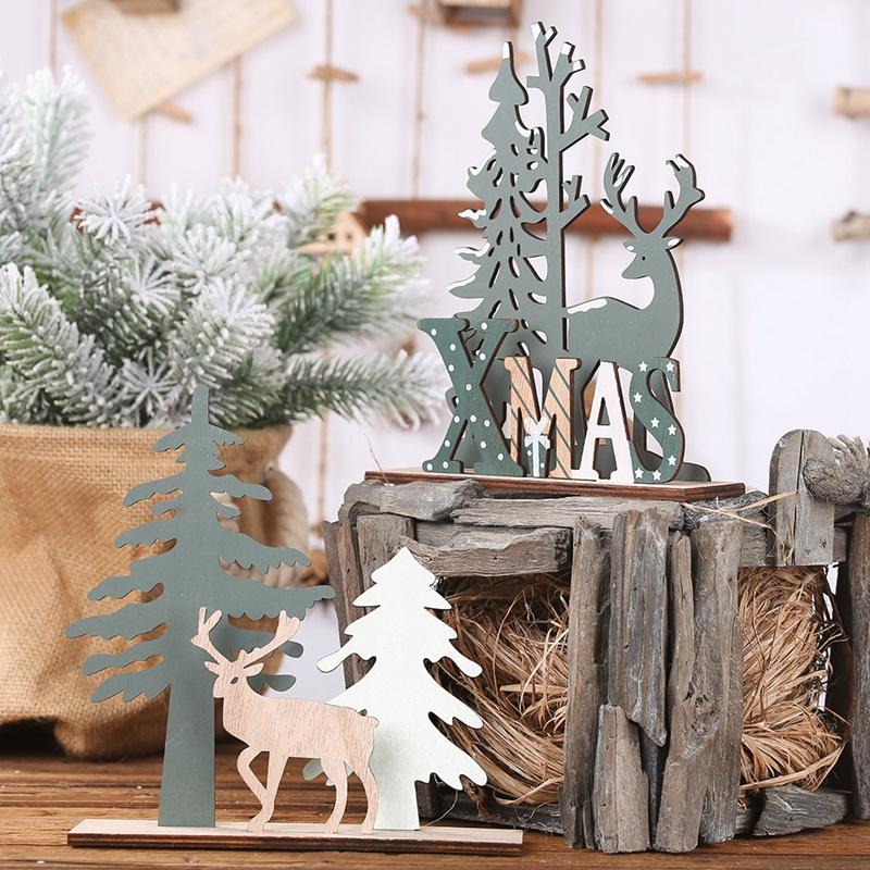 Elk-Xmas-Tree-Pendants-Hanging-Wooden-Christmas-Ornaments-Party-DIY-Decor-H-N5O7 thumbnail 7