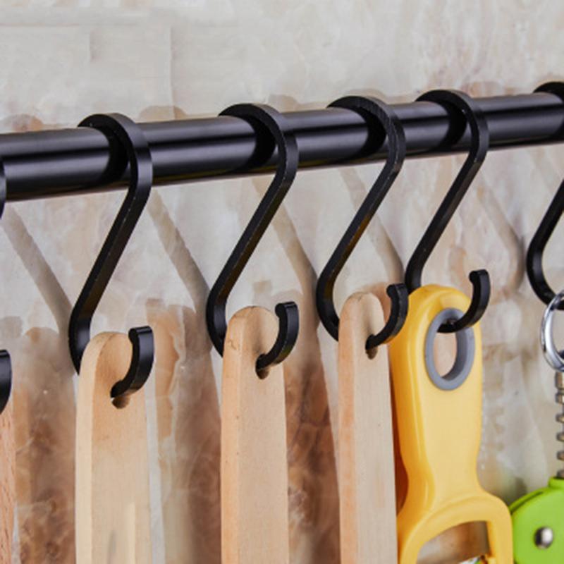 Kitchen Rail Rack Wall Mounted Utensil Hanging Rack Space Aluminium Hanger