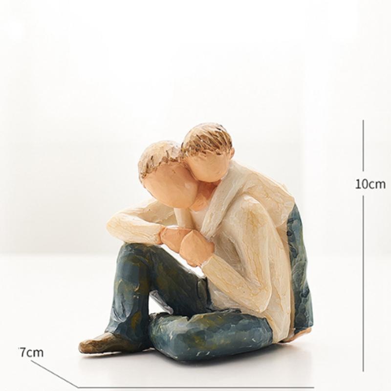 Nordische-Art-Liebe-Familien-FigueRchen-Harz-Miniatur-Haus-Dekoration-ZusaeTz-W2J4 Indexbild 9