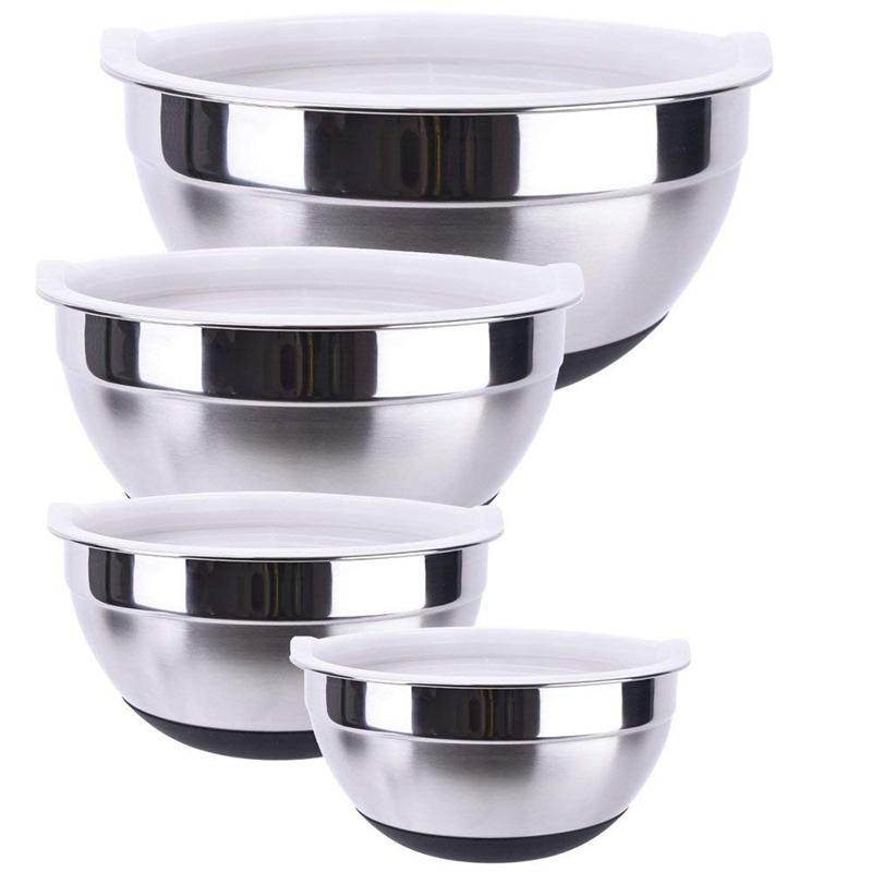 1X-Stainless-Steel-Mixing-Bowl-Ergonomic-Non-Slip-Silicone-Base-ProfessionaW7P5 thumbnail 10