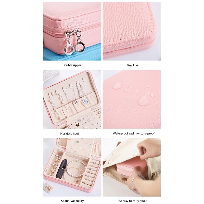 Portable-PU-Jewelry-Box-Zipper-Bracelet-Earrings-Necklace-Rings-Storage-Cas-A3F8 thumbnail 5