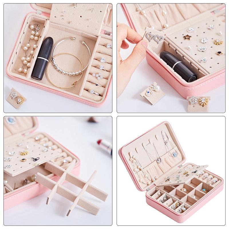Portable-PU-Jewelry-Box-Zipper-Bracelet-Earrings-Necklace-Rings-Storage-Cas-A3F8 thumbnail 6