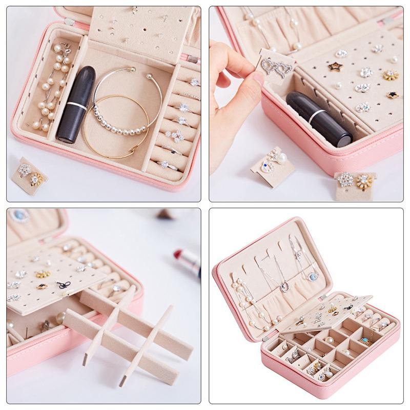 Portable-PU-Jewelry-Box-Zipper-Bracelet-Earrings-Necklace-Rings-Storage-Cas-A3F8 thumbnail 12
