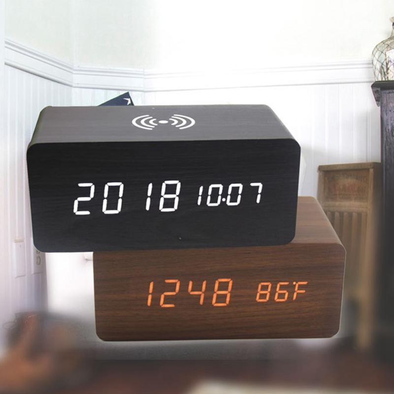 Détails sur RéVeil en Bois avec Haut Parleur Bluetooth Commande Vocale LED Horloge NuméRique