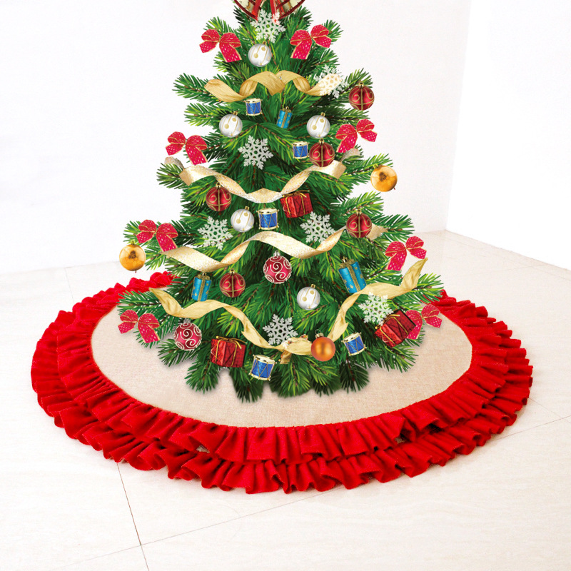 Linen Christmas Tree Skirt: 48 Inch Linen Burlap Christmas Tree Skirt Plaid Ruffle