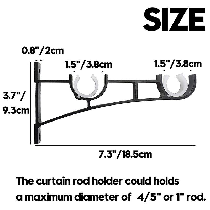 2X(Double Curtain Rod Holders Set, Curtain Rod Brackets