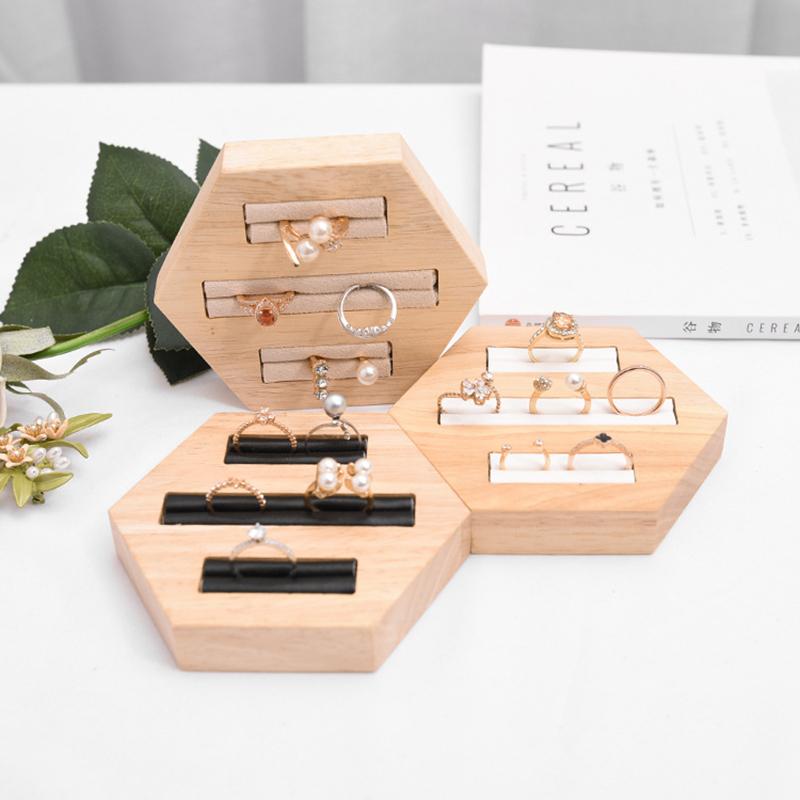Indexbild 19 - Holz Ring Insert Display Halter Fach Schmuck Aufbewahrungsbox Organizer Sho D3R9