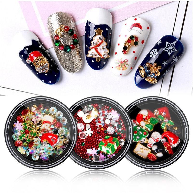 Nail-Colorful-Nail-Christmas-Rhinestone-Series-3D-Manicure-Nail-Art-Decor-DJ4K8 thumbnail 3