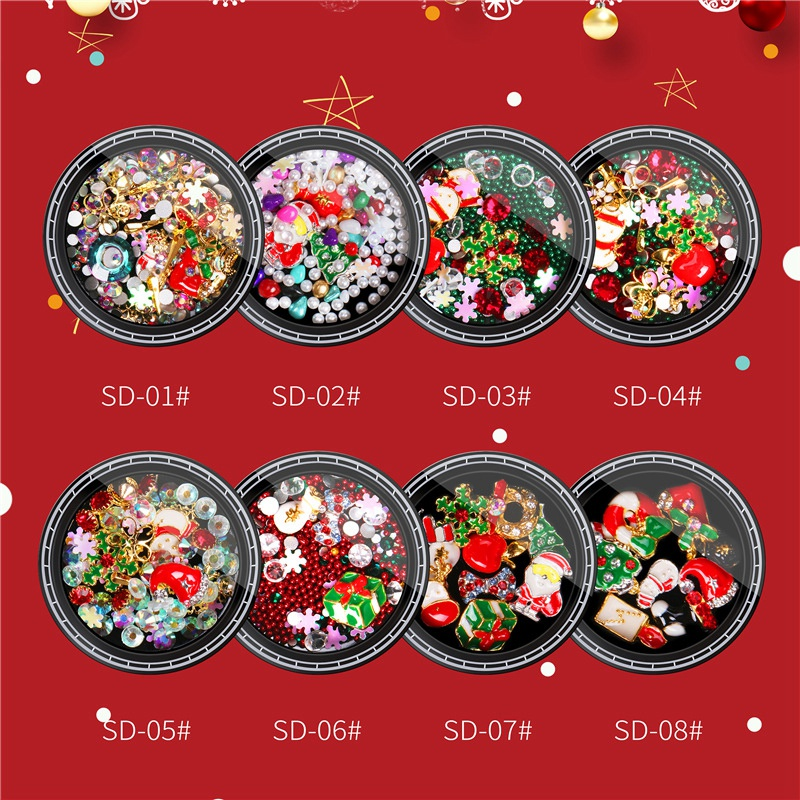 Nail-Colorful-Nail-Christmas-Rhinestone-Series-3D-Manicure-Nail-Art-Decor-DJ4K8 thumbnail 4