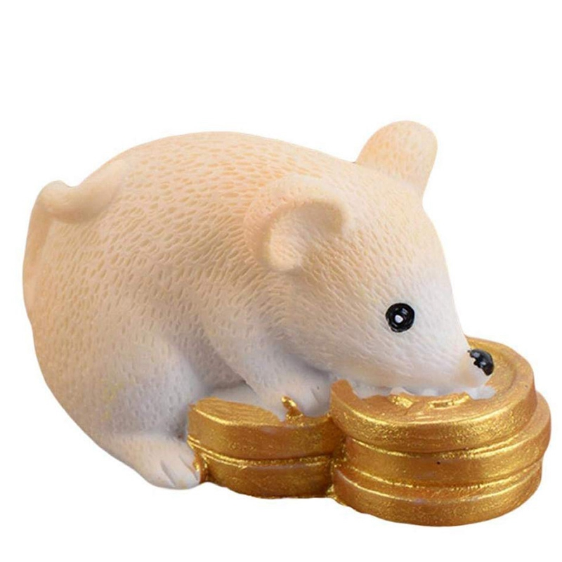 DIY-Dollhouse-Miniatures-Mini-Resin-Chinese-Money-Fortune-Rat-Figurine-TablT7S1 thumbnail 8