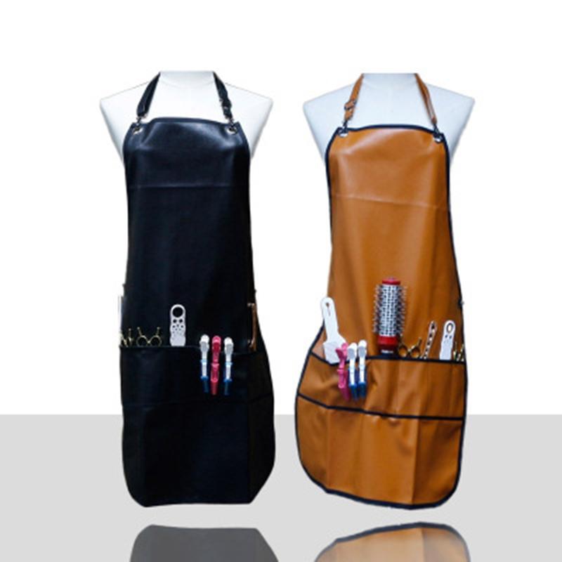 1X-Tablier-de-Coiffeur-Professionnel-avec-Poches-en-Cuir-PU-Tablier-de-Coif-W9I5 miniature 4