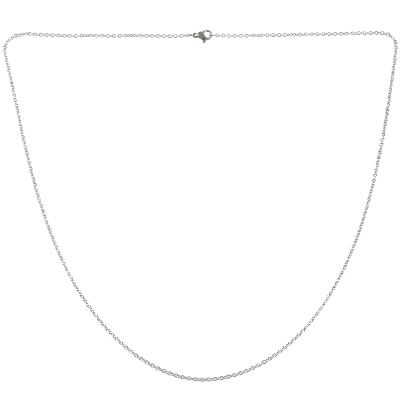 """1X Schmuck Damen Kette, Edelstahl /""""O/"""" Halskette, Silber - Breite 2mm - Laenge DA"""