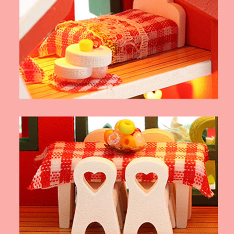 DIY-Puppen-Haus-HoeLzerne-Puppen-HaeUser-Miniatur-Puppen-Haus-MoeBel-Kit-mit-L-L7P7 Indexbild 7