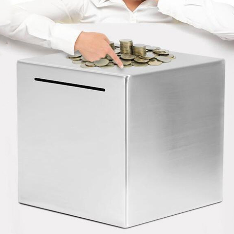 Ziv Safe Piggy Bank Made of Stainless Stell,Safe Box Money Savings Bank for Lover,Thanks Giving Gift,Can Only Save The Piggy Bank That Cannot be Taken Out 7.9 in