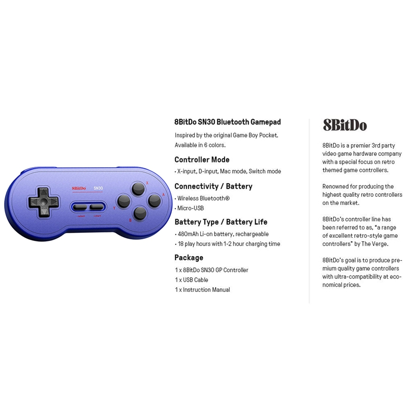 8Bitdo-Sn30-GP-Bluetooth-Gamepad-Controller-for-Nintendo-Switch-Windows-MacK5N5 thumbnail 14