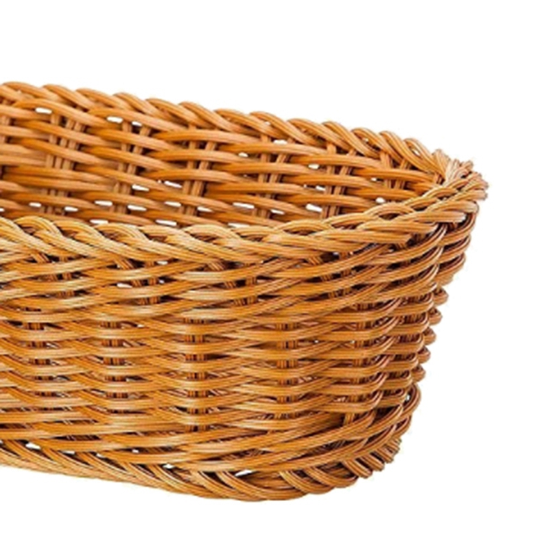 Oval Wicker Woven Basket Bread Basket Serving Basket 11 Inch Storage H7N6