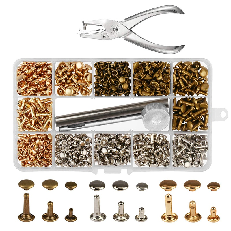 Set of 100 x 8mm Double Cap Tubular Rivets and Setting Hand Tool Leather Crafts