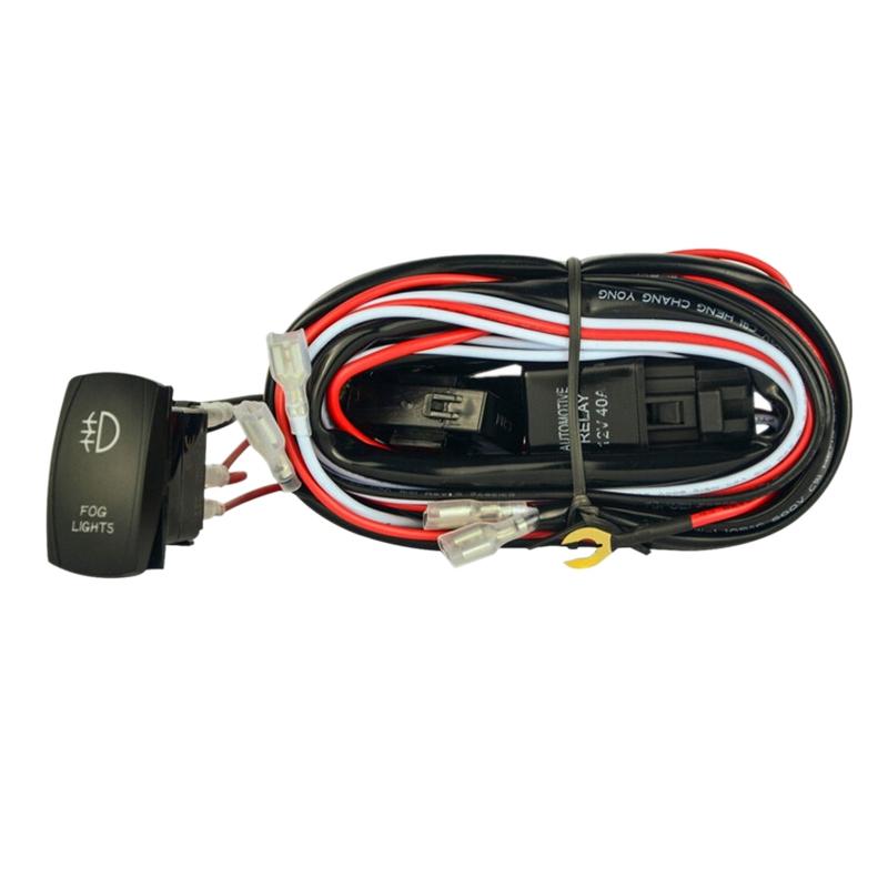 40A Luz antiniebla del coche Arn/és de cableado Interruptor de ENCENDIDO//APAGADO Interruptor de luz de trabajo LED para focos todo terreno Kit de rel/é de interruptor rojo y negro y blanco 12V