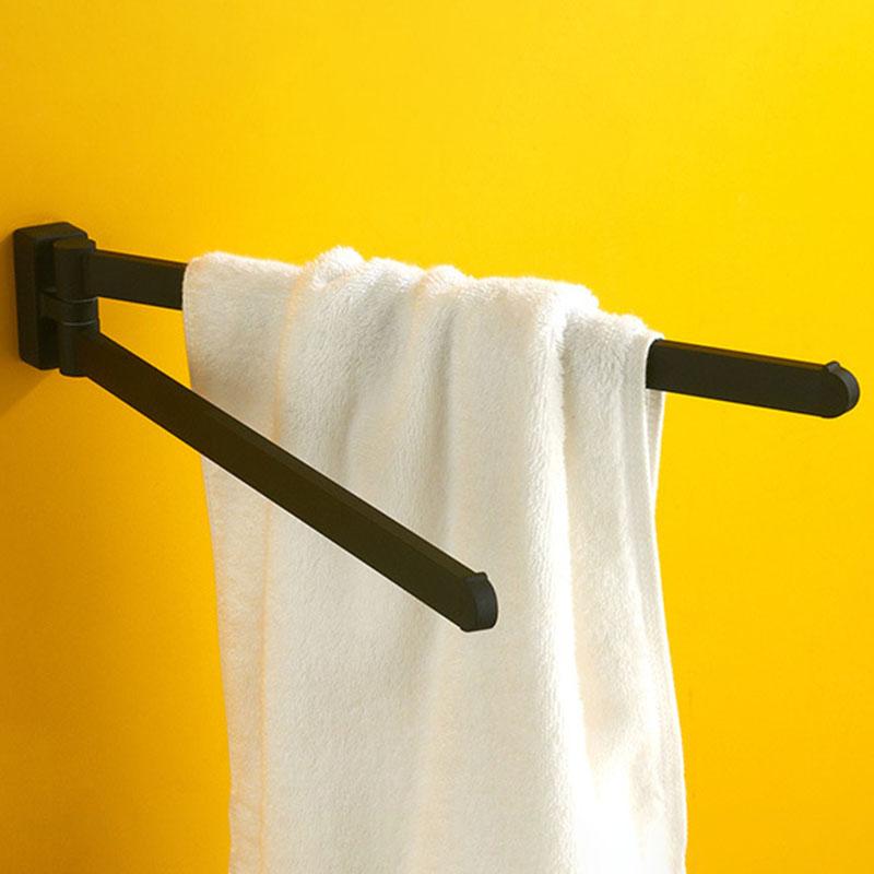 Schwenkbarer-Handtuch-Halter-Bewegliche-Doppel-Handtuch-Halter-Chrom-Matt-G-D1O6 Indexbild 5