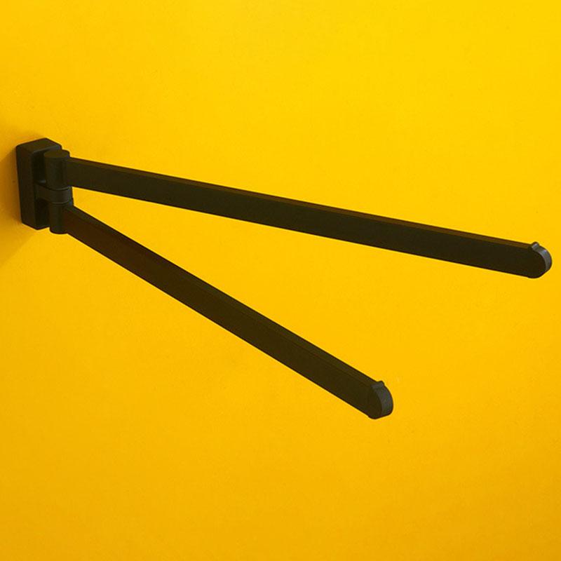 Schwenkbarer-Handtuch-Halter-Bewegliche-Doppel-Handtuch-Halter-Chrom-Matt-G-D1O6 Indexbild 6