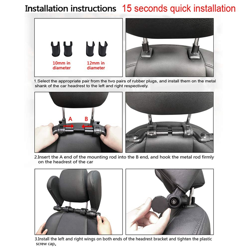 Car-Headrest-Nap-Support-Fitted-Seat-Pillow-Car-Functional-Travel-Car-Acce-J2L2 thumbnail 6