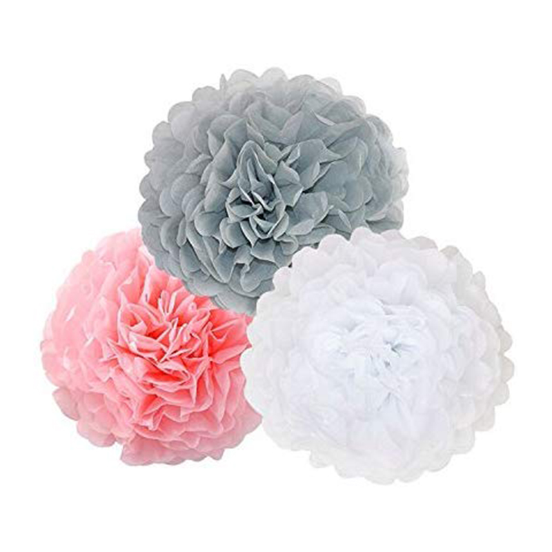 23Pcs-Tissue-Paper-Flowers-Pom-Poms-Party-Girl-Decorations-Tassel-Garland-for-We thumbnail 3
