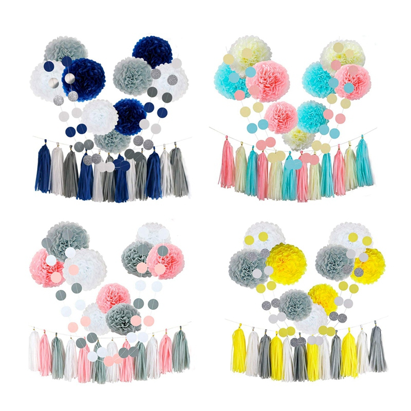 23Pcs-Tissue-Paper-Flowers-Pom-Poms-Party-Girl-Decorations-Tassel-Garland-for-We thumbnail 9