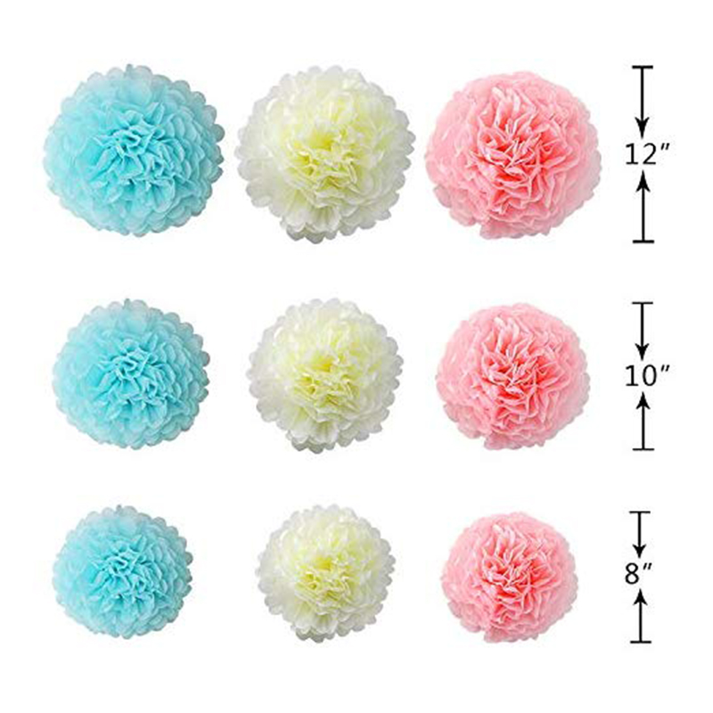 23Pcs-Tissue-Paper-Flowers-Pom-Poms-Party-Girl-Decorations-Tassel-Garland-for-We thumbnail 13