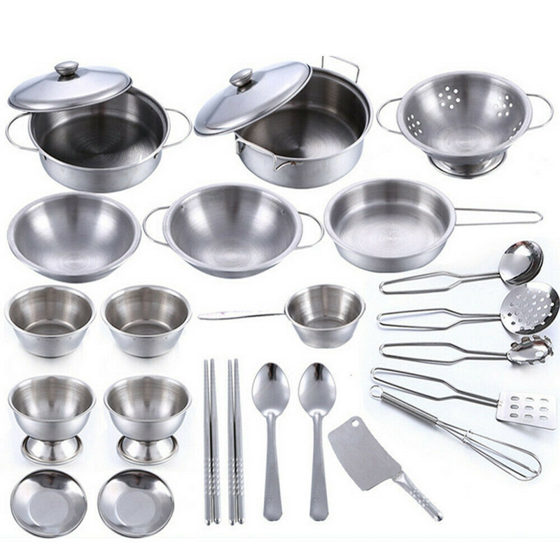 25 Pcs Kids Play House Kitchen Toys Cookware Cooking Utensils Pots Pans Gift Set