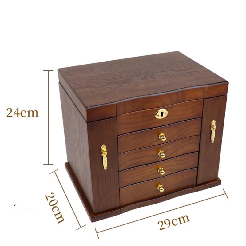 Jewelry-Box-with-Lock-Real-Wooden-Princess-European-Retro-Multifunctional-C-U8B4 thumbnail 3