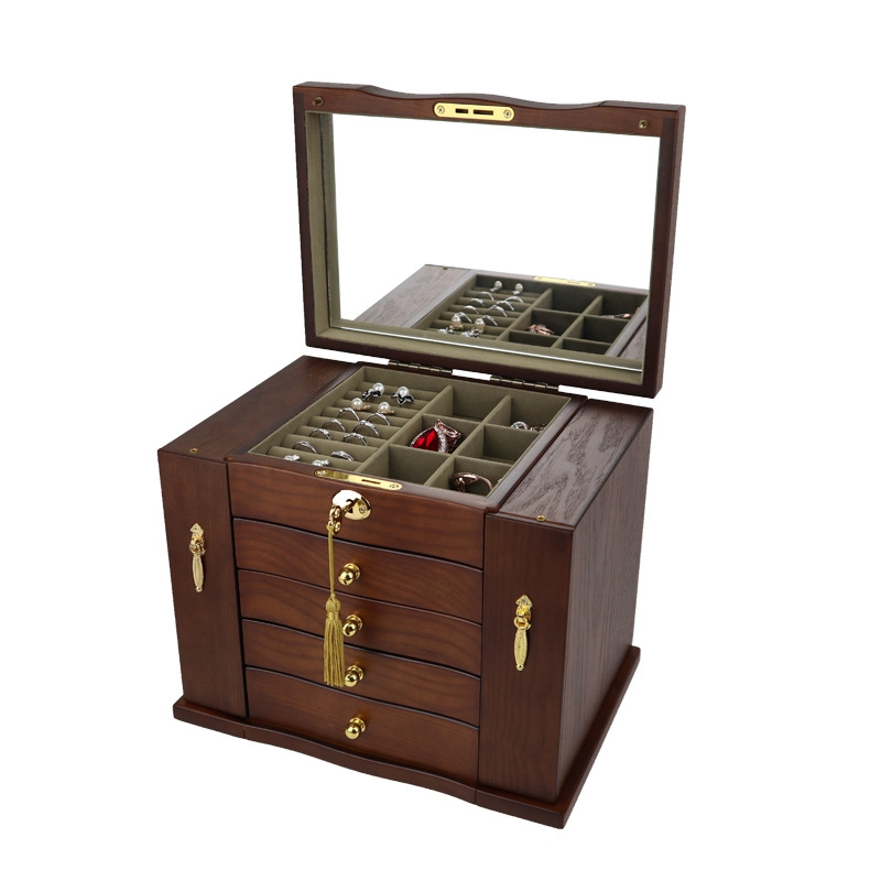 Jewelry-Box-with-Lock-Real-Wooden-Princess-European-Retro-Multifunctional-C-U8B4 thumbnail 4