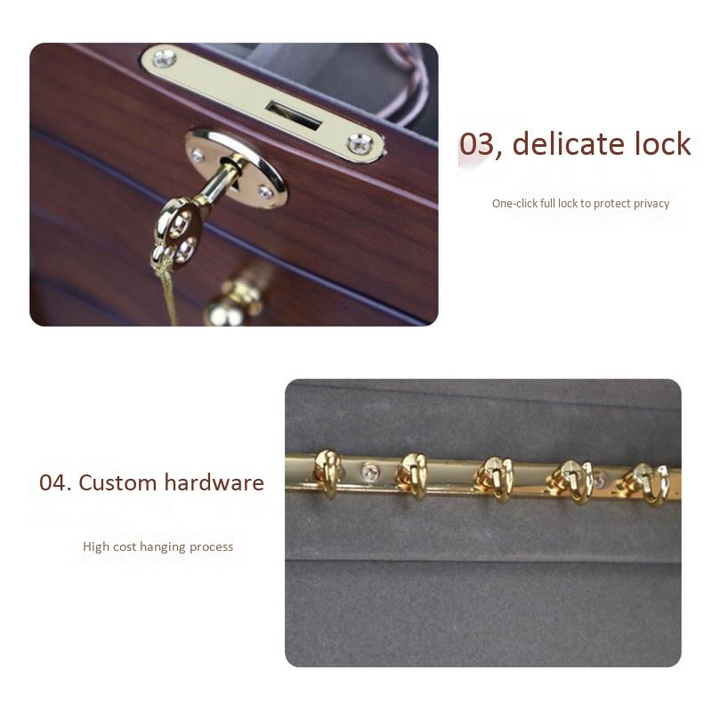 Jewelry-Box-with-Lock-Real-Wooden-Princess-European-Retro-Multifunctional-C-U8B4 thumbnail 8