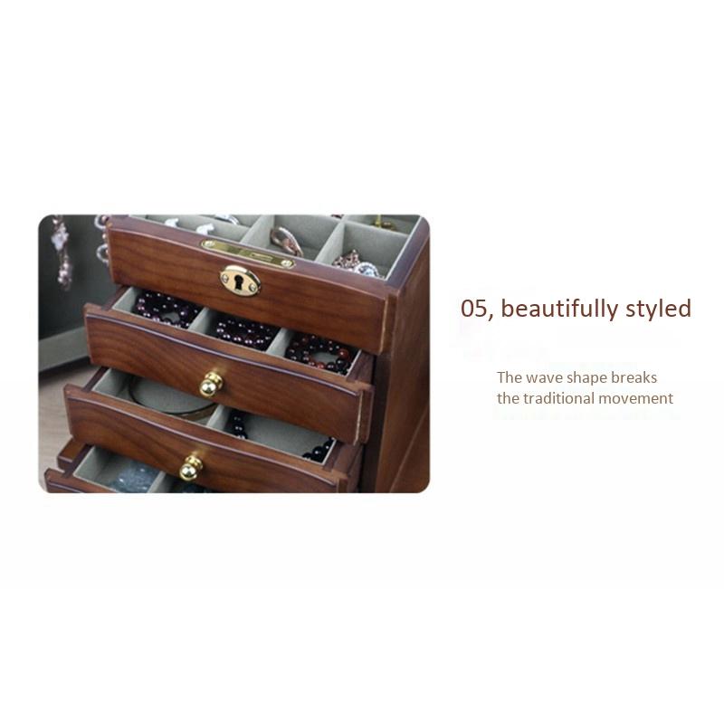 Jewelry-Box-with-Lock-Real-Wooden-Princess-European-Retro-Multifunctional-C-U8B4 thumbnail 9
