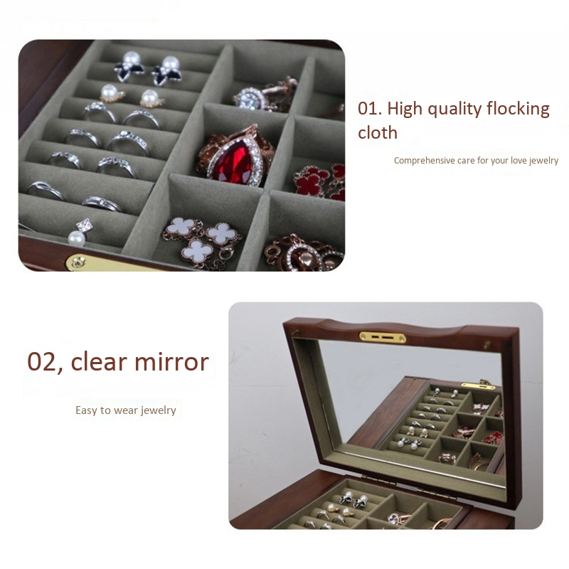 Jewelry-Box-with-Lock-Real-Wooden-Princess-European-Retro-Multifunctional-C-U8B4 thumbnail 23