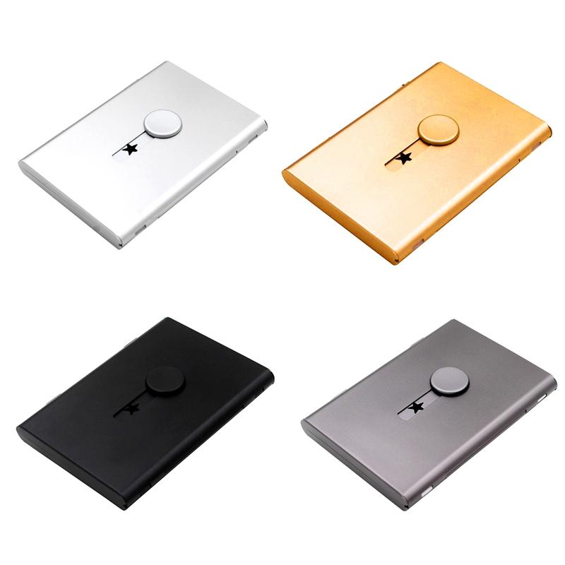 Porta-Biglietti-da-Visita-Push-Card-Porta-Carte-di-Credito-Confezione-Tesse-L2N2 miniatura 17