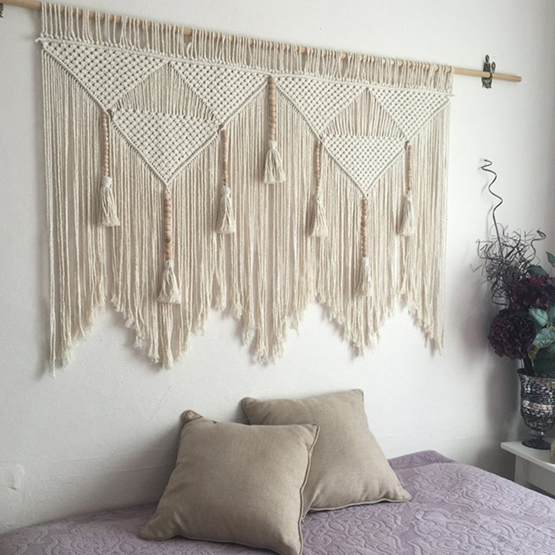Macrame-Wall-Hanging-Handwoven-Bohemian-Cotton-Rope-Boho-Tapestry-Home-Deco-F2C3 thumbnail 7