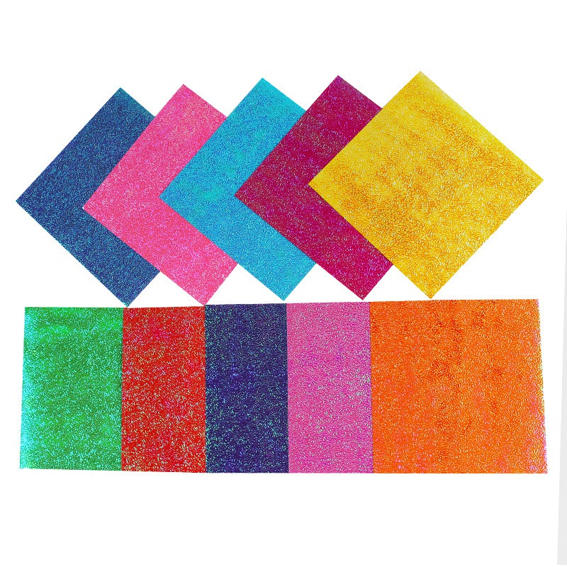 50pcs Square Origami Paper Single Side Glitter Folding Color Papers Solid Z2A5