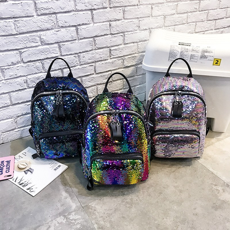 Sequin Bag Cool Cool Wild Fashion Color Sequins Backpack Leisure Travel Ou V6d1