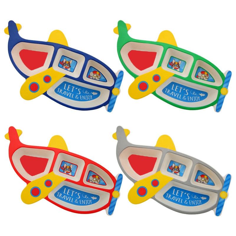 3-Piezas-Juego-Fibra-de-Bambu-Plato-para-NinOs-Cuenco-de-Rejilla-con-Form-G9O8 miniatura 6
