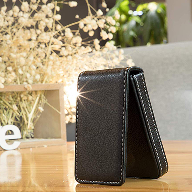 Business-Card-Holder-Premium-PU-Leather-Business-Card-Case-Wallet-Men-039-s-Wom-O3D8 thumbnail 5