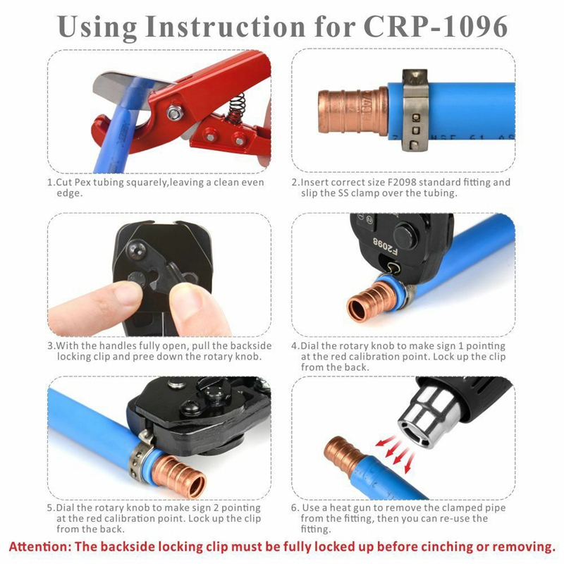 PEX Crimper Cinch Tool with Removing Function for 3/8 Inch- 1 Inch Clamps R2L7 6