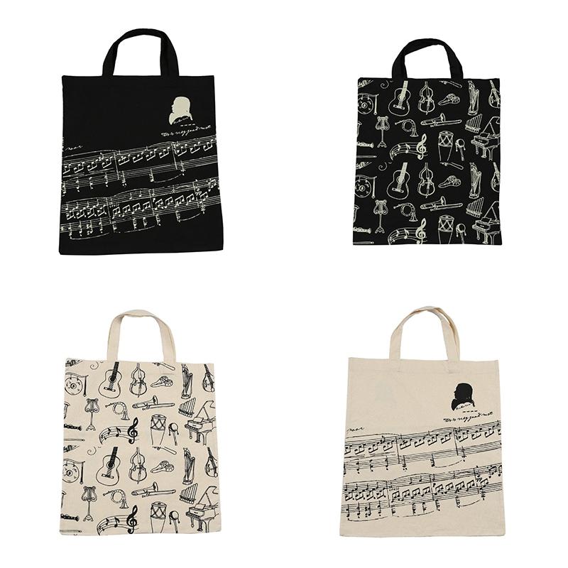 Music-Score-Cotton-Handbag-Musical-Elements-Note-Tote-Bag-Instruments-AccesO2D4 thumbnail 4