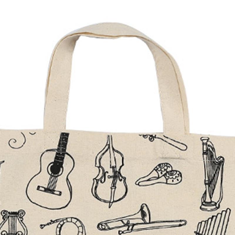 Music-Score-Cotton-Handbag-Musical-Elements-Note-Tote-Bag-Instruments-AccesO2D4 thumbnail 5