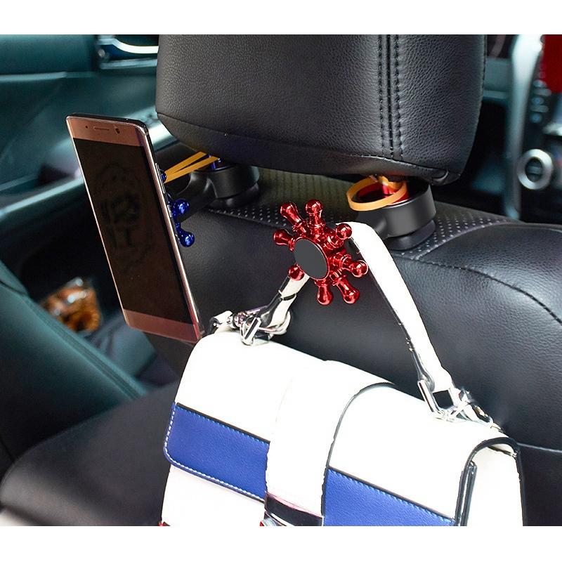 3X-2-in-1-Auto-KopfstueTze-Haken-mit-Handyhalter-RueCkenlehne-AufhaeNger-MultiM7P1 Indexbild 25