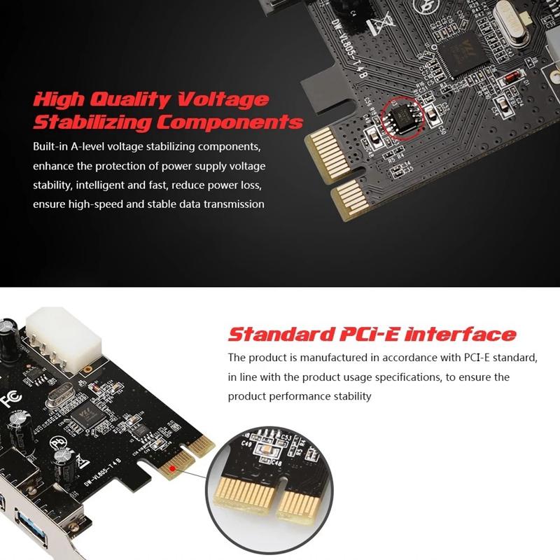 SODIAL R Adaptador de Tarjeta de Expansion Expreso FAST USB 3.0 PCI-E PCIE 4 Puertos