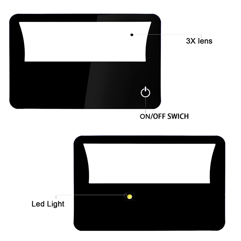 4 Pieces Credit Card Magnifier With LED Light Reading