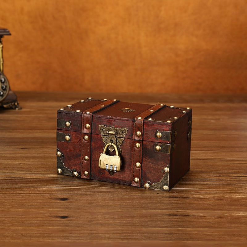 3X-Retro-Schatzkiste-mit-Schloss-Vintage-Holz-Aufbewahrungsbox-Antik-Stil-SH3A2 Indexbild 3
