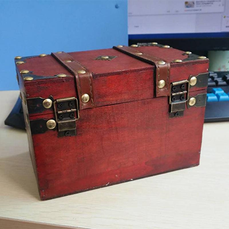 3X-Retro-Schatzkiste-mit-Schloss-Vintage-Holz-Aufbewahrungsbox-Antik-Stil-SH3A2 Indexbild 4