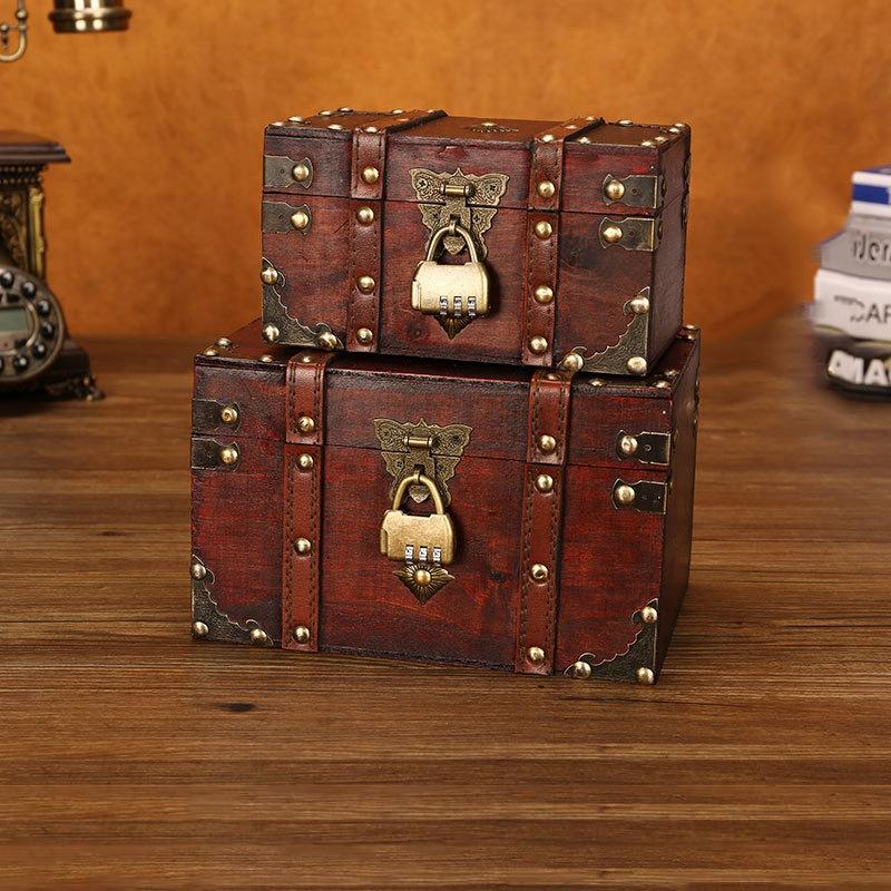 3X-Retro-Schatzkiste-mit-Schloss-Vintage-Holz-Aufbewahrungsbox-Antik-Stil-SH3A2 Indexbild 8