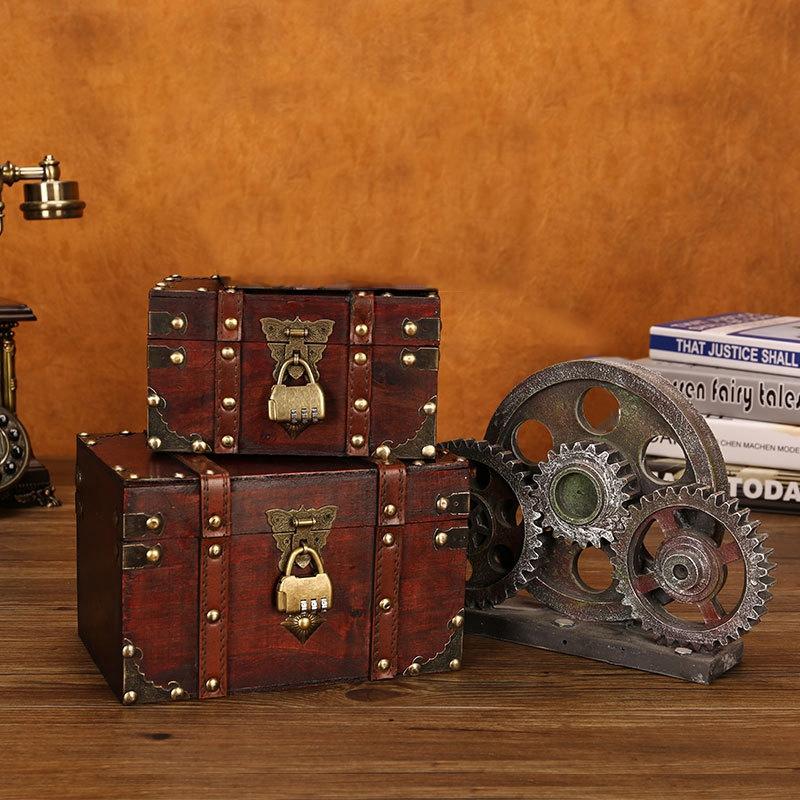 3X-Retro-Schatzkiste-mit-Schloss-Vintage-Holz-Aufbewahrungsbox-Antik-Stil-SH3A2 Indexbild 9
